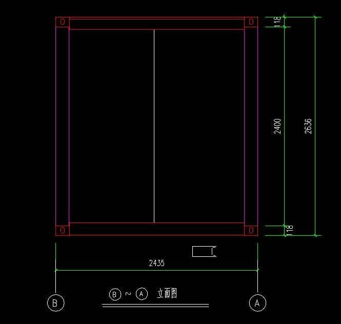 箱房2.4米侧面CAD设计图