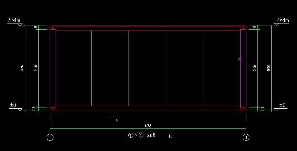 箱房6米立面CAD设计图