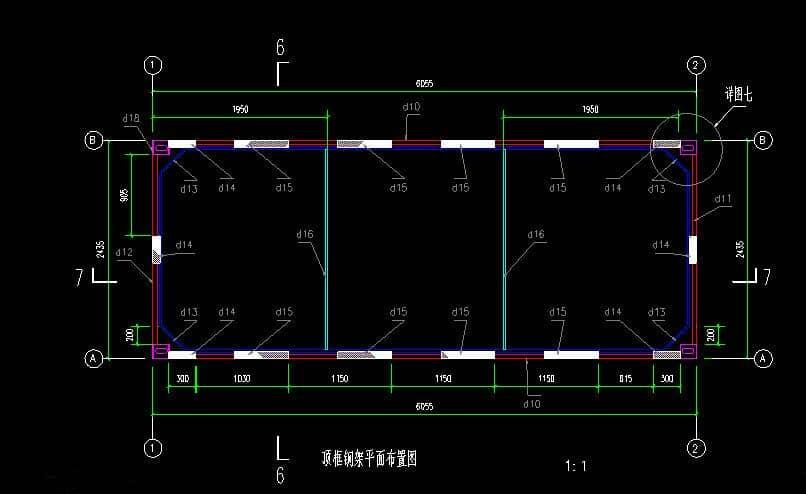 箱房顶框钢架平面布置设计图