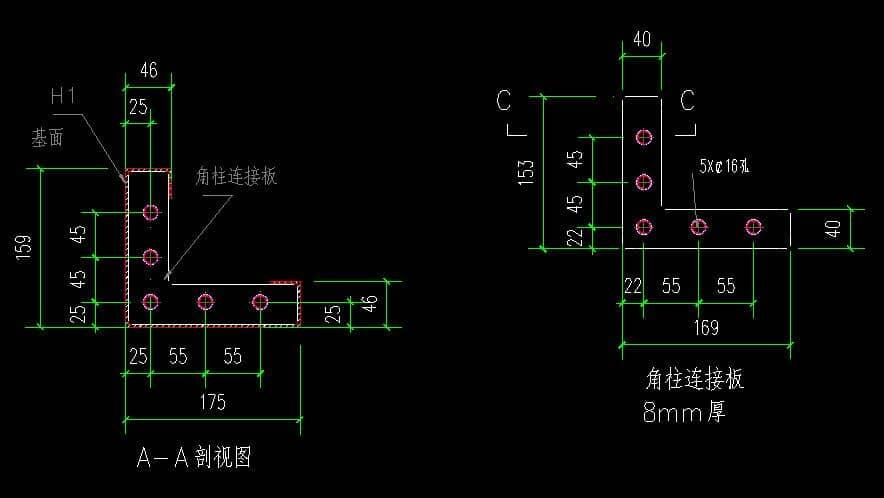 箱房角柱连接板剖视设计图