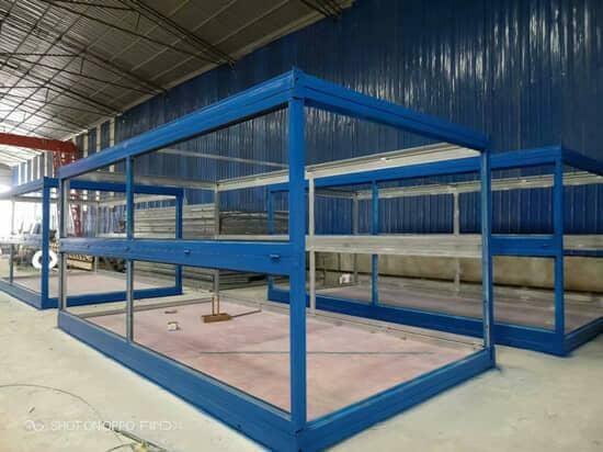 折叠集装箱活动房钢骨框架图