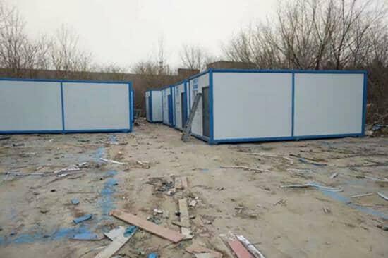 蓝色框架白色墙面住人集装箱活动房
