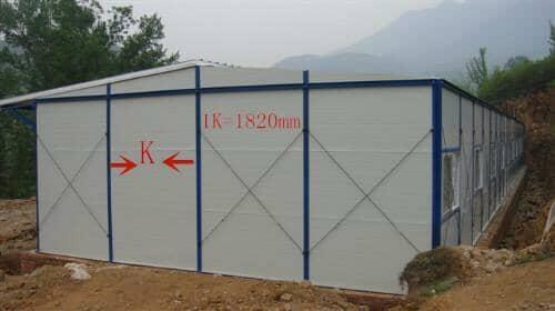 纵深跨度每K为1820mm的活动房侧面图