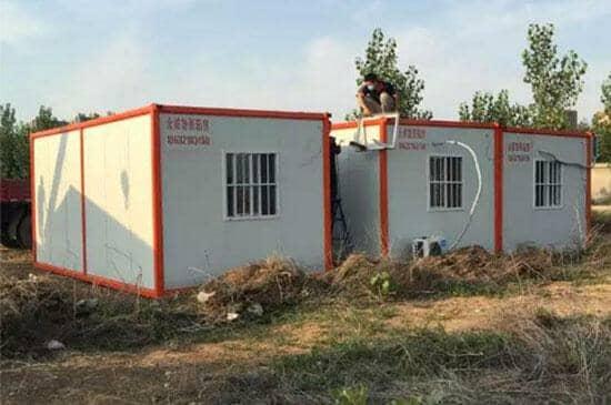 橘红色住人集装箱活动房图