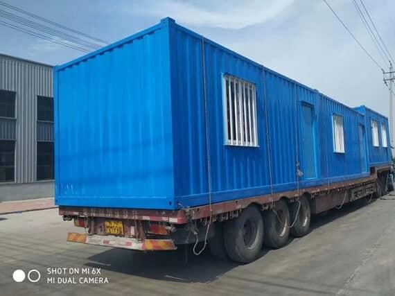 蓝色焊接瓦楞式集装箱活动板房图