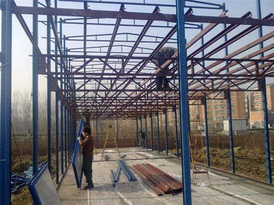 二层雅致活动板房钢骨架安装图