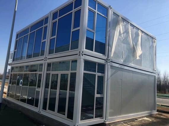 打包式集装箱活动房墙面与屋面为岩棉净化板图