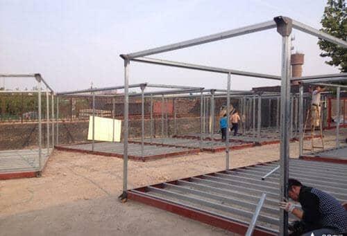 住人集装箱活动房框架焊接立柱效果图
