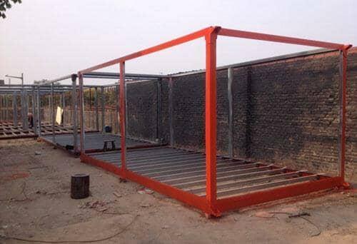 橘红色住人集装箱活动房框架图