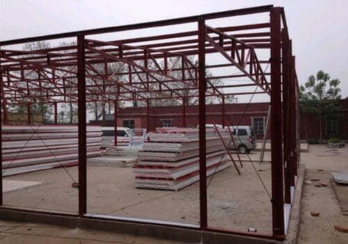 铁红色K式活动房框架图