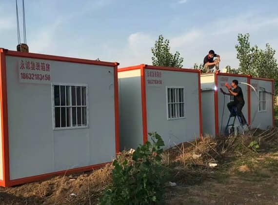橘红色住人集装箱活动房