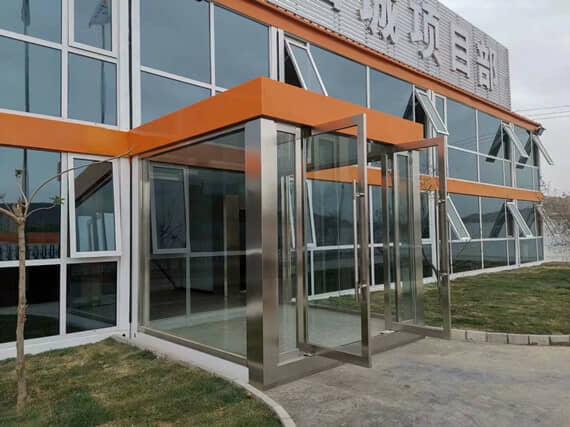 玻璃幕墙式打包集装箱活动房
