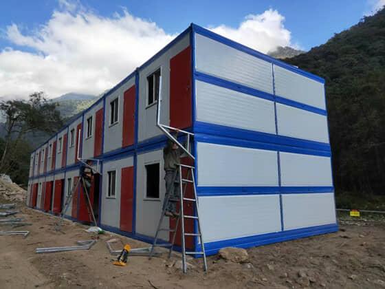 蓝色的框架,白色的墙面折叠集装箱活动房