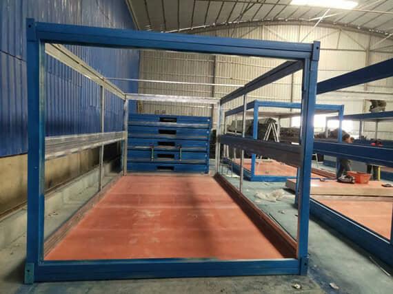 折叠集装箱活动房钢框架图