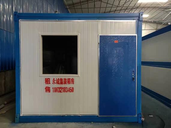 折叠集装箱活动房3米面为正面,设计为一个门与一个窗