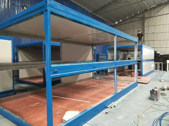 钢框架6米折叠的侧面图