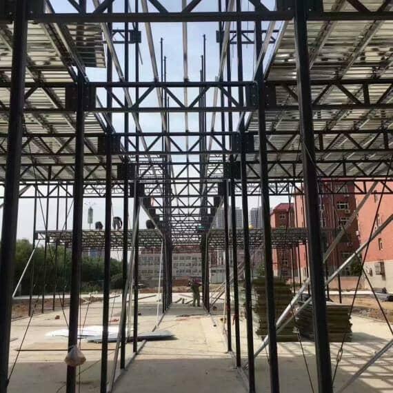 彩钢活动房钢骨架室内走廊图